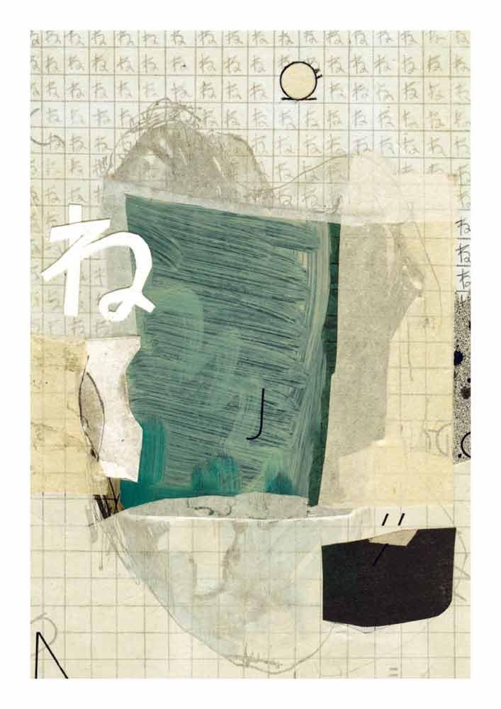 Collage blaue Schablone und Papiere Hiragana ne Letraset Letter
