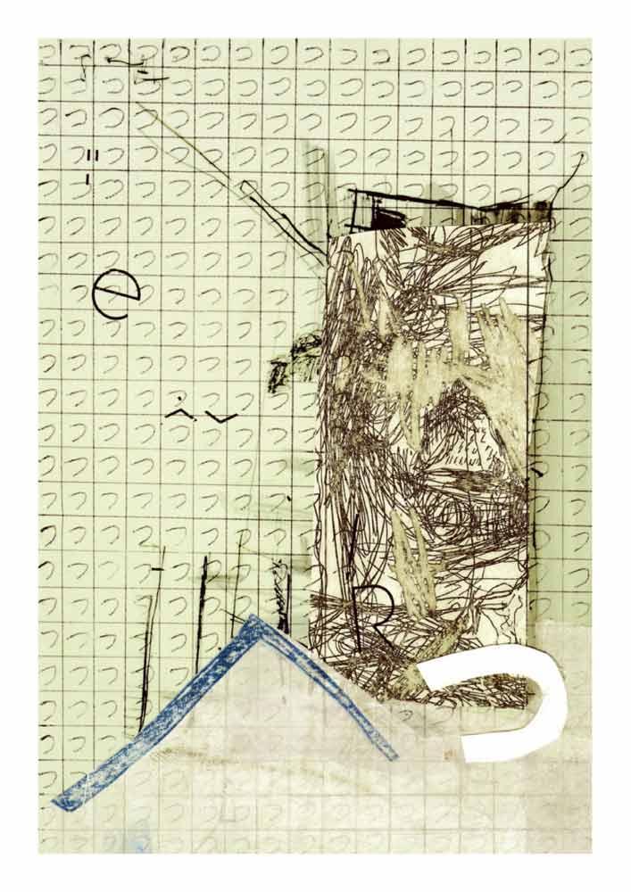 Collage Hiragana tsu in Raster über Zeichnung zerschnittene Radierung