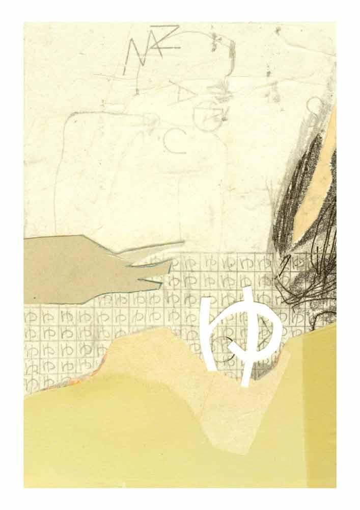 Collage weiß gelbliche Papiere zerschnittene Monotypie Hiragana yu in Raster