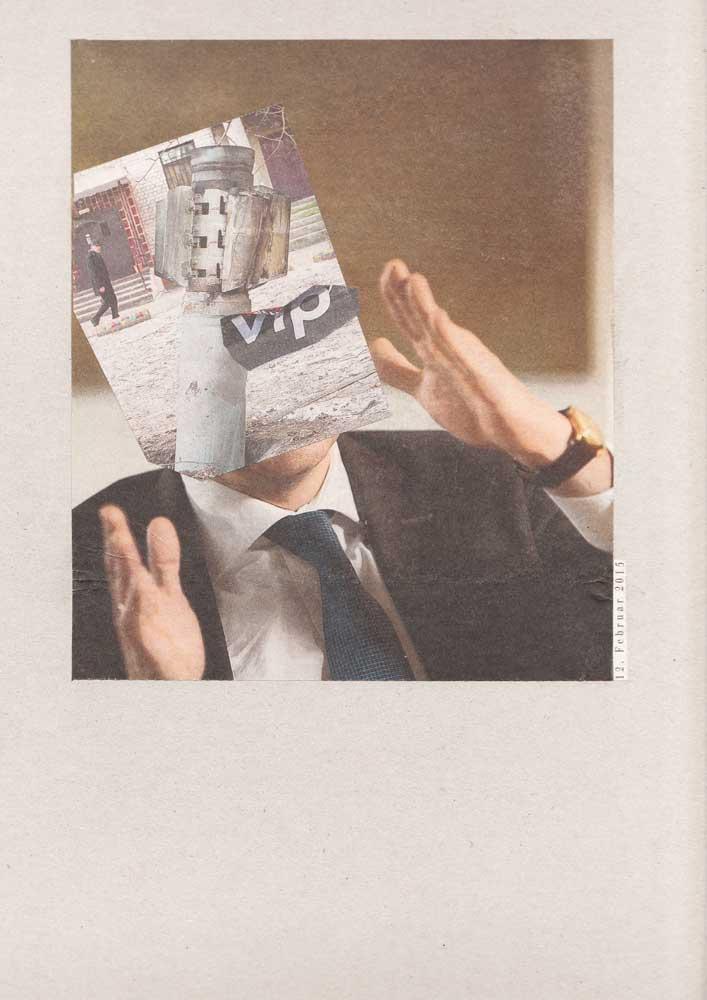 Collage Anzugmensch mit erhobenen Händen und Bombe als Gesicht VIP
