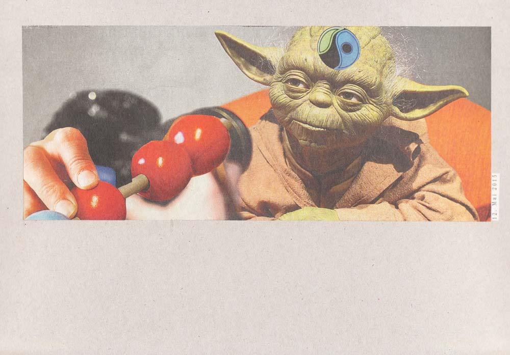 Collage Yoda mit Fairtradesymbol auf der Stirn vor Abakus