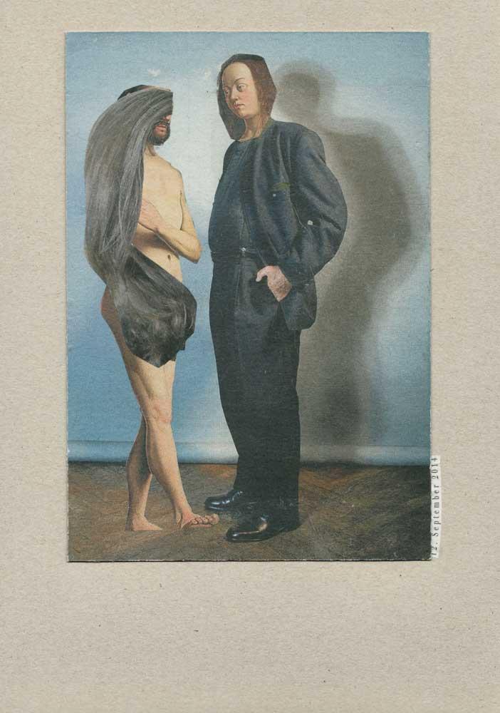 Collage nackter Mann mit langen Frauenhaaren und Anzugmann mit Frauenkopf