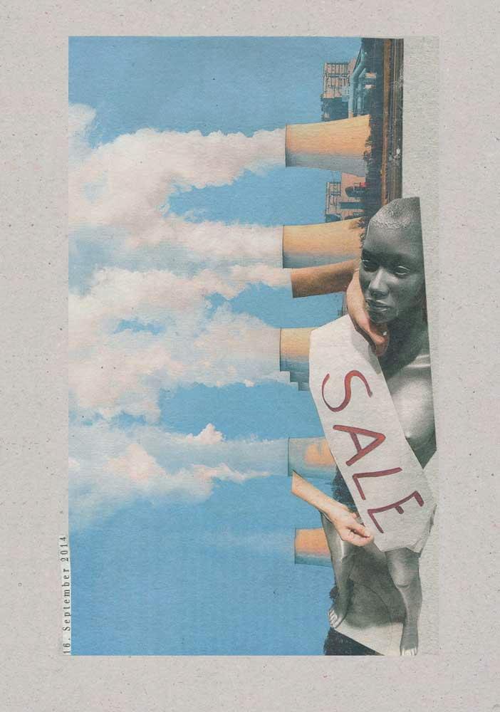 Collage Fensterschaupuppe mit Schal Sale und seitlich rauchenden Schornsteien