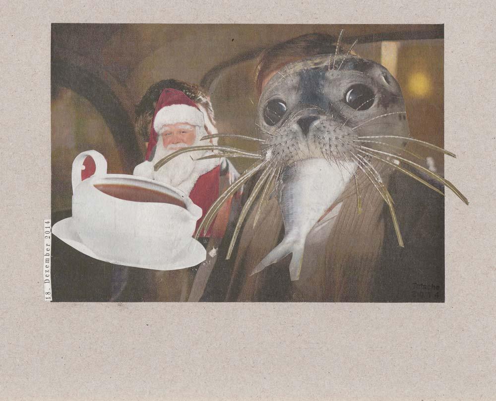 Collage Weihnachtsmann lacht mit Fisch ins Maul gestopfter obbe