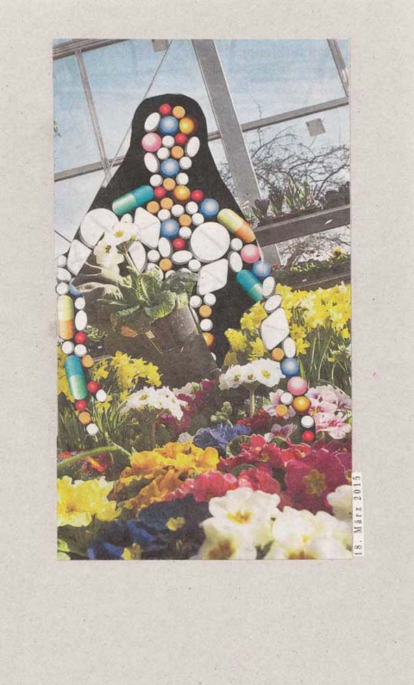 Collage Gewächshaus mit vielen Blumen und Mensch aus bunten Tabletten