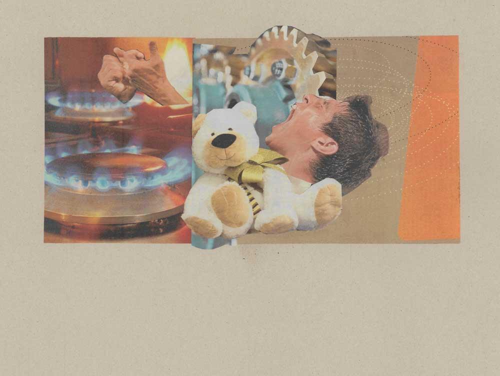 Collage Gasherdflammen mit Händen und Teddybär und schreienden Mann