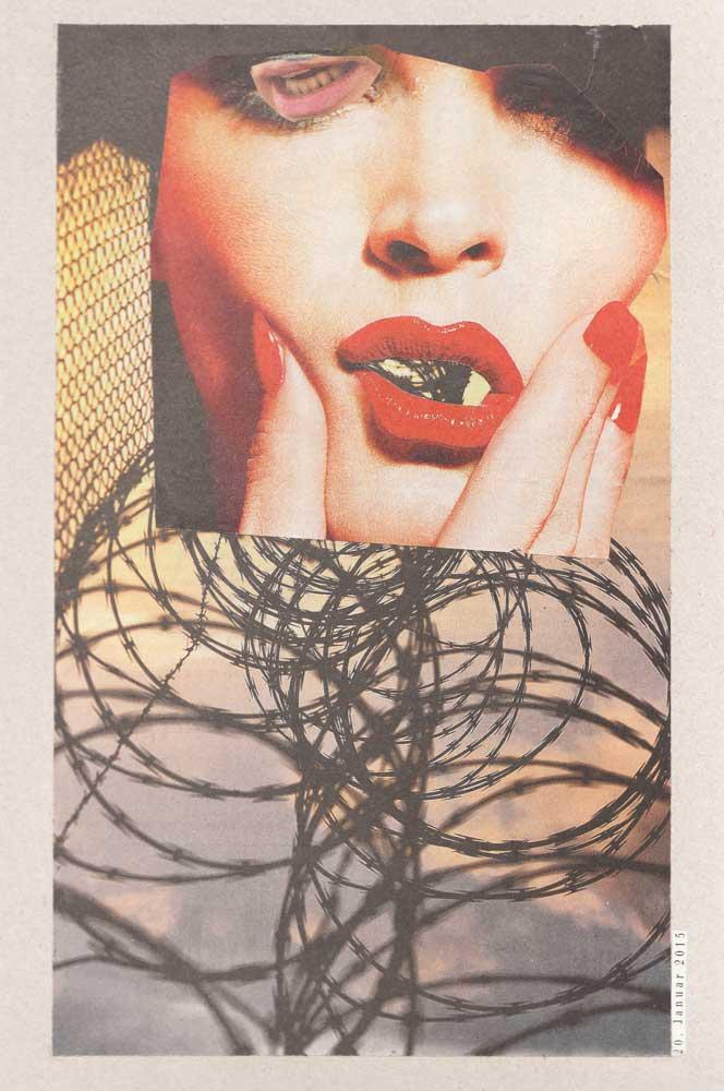 Colalge Frau rot geschminkten Lippen und Stacheldraht
