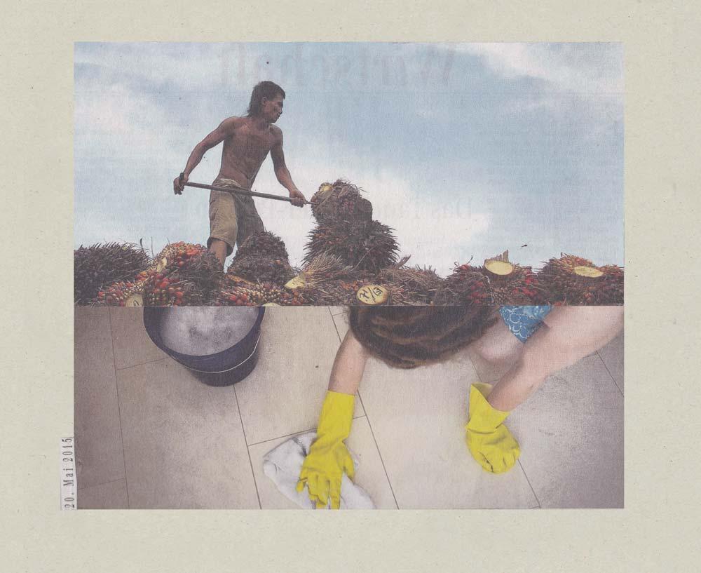 Collage Mensch reinigt Fußboden darüber Dritte Welt Mensch schippt Dreck