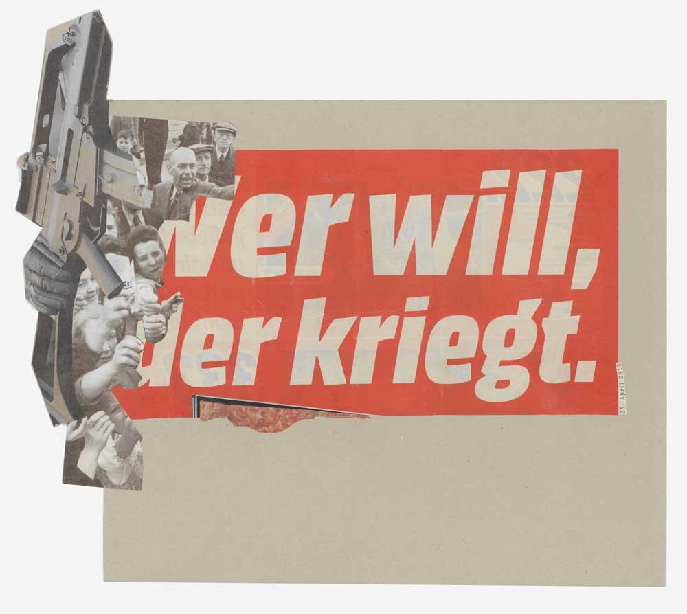 Collage Menschen mit gestreckten Armen nach Werbeblatt mit Aufschrift wer will der kriegt vor großen Waffe