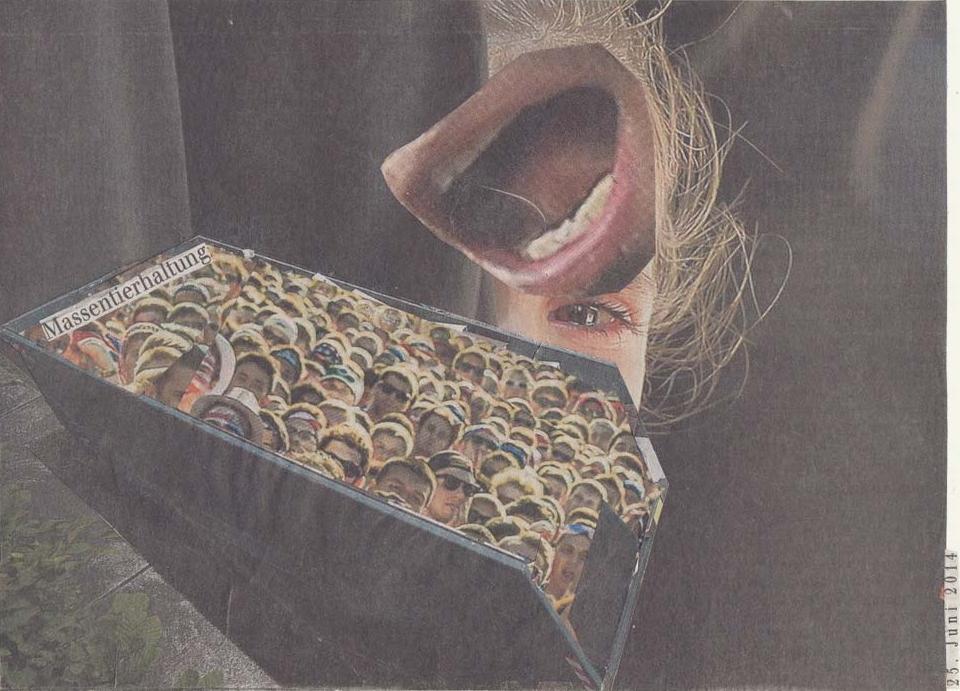Collage Container mit Menschenköpfen darüber weinendes Mädchen mit großem Mund