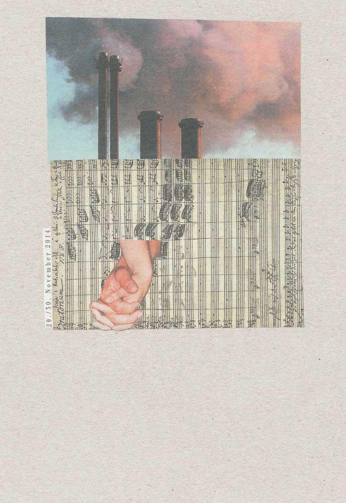 Collage Notenblätter mit Händen und qualmenden Schornsteinen