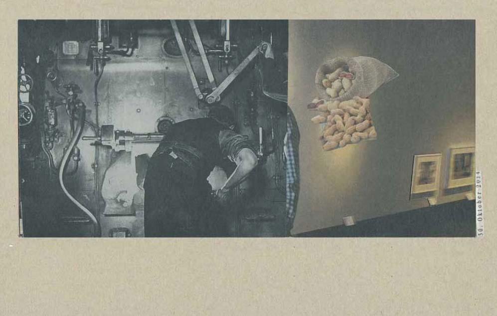 Collage Lok Heizer neben Galeriewand