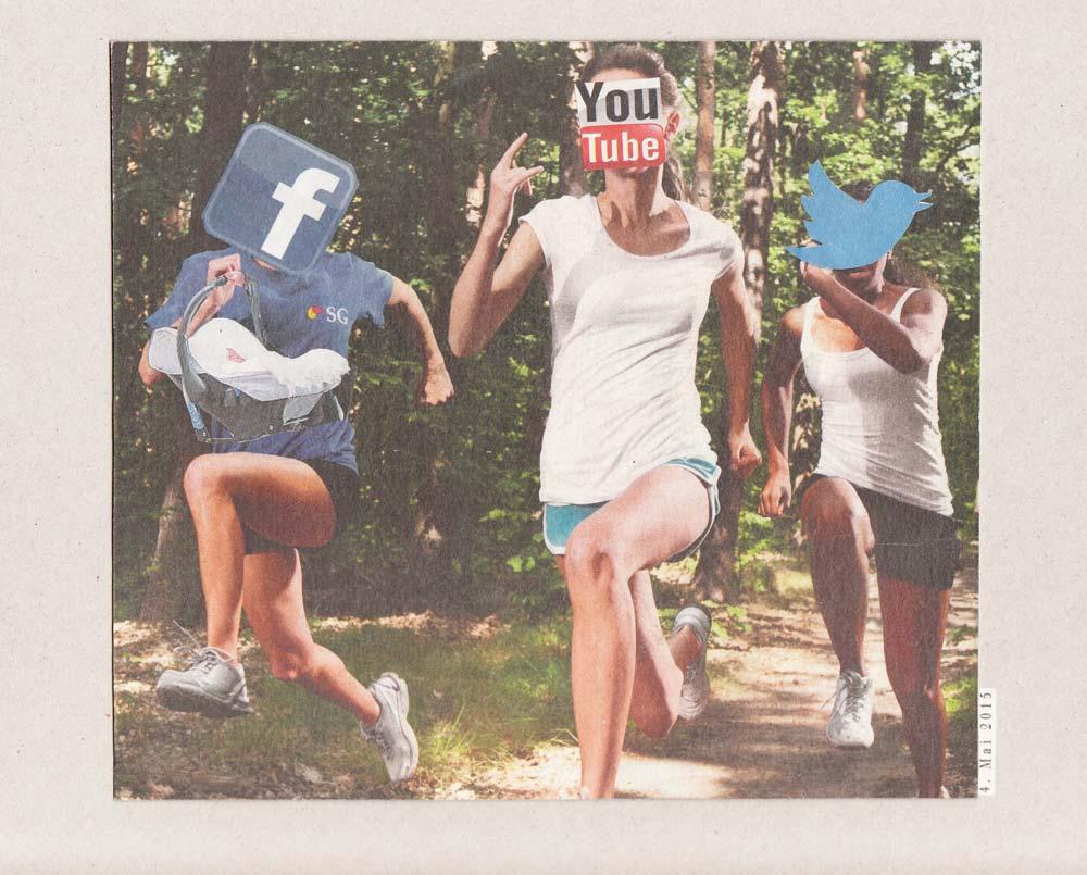 Collage im Wald 3 Sprinter mit Social Media Symbol Köpfen FB, Yotube, Twitter