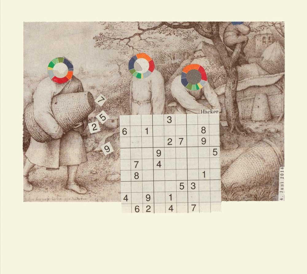 Collage Zeichnung Pieter Bruegel darüber Sudoku fallende Zahlen