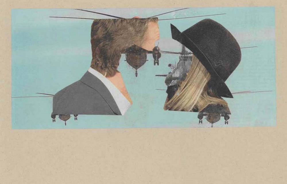 Collage Hubschrauber in Gesichtern von einem Mann und einer Frau schwebend