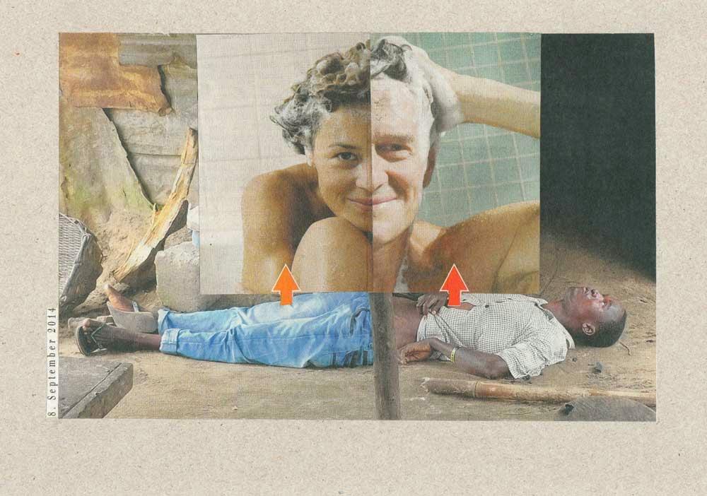 Collage Mann und Frau mir geschäumten Haaren und schwarzer liegender Mann