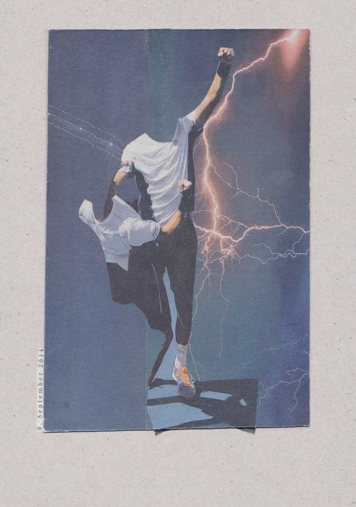 Collage großer Blitz zwei Menschen ohne Köpfe erhobener Arm