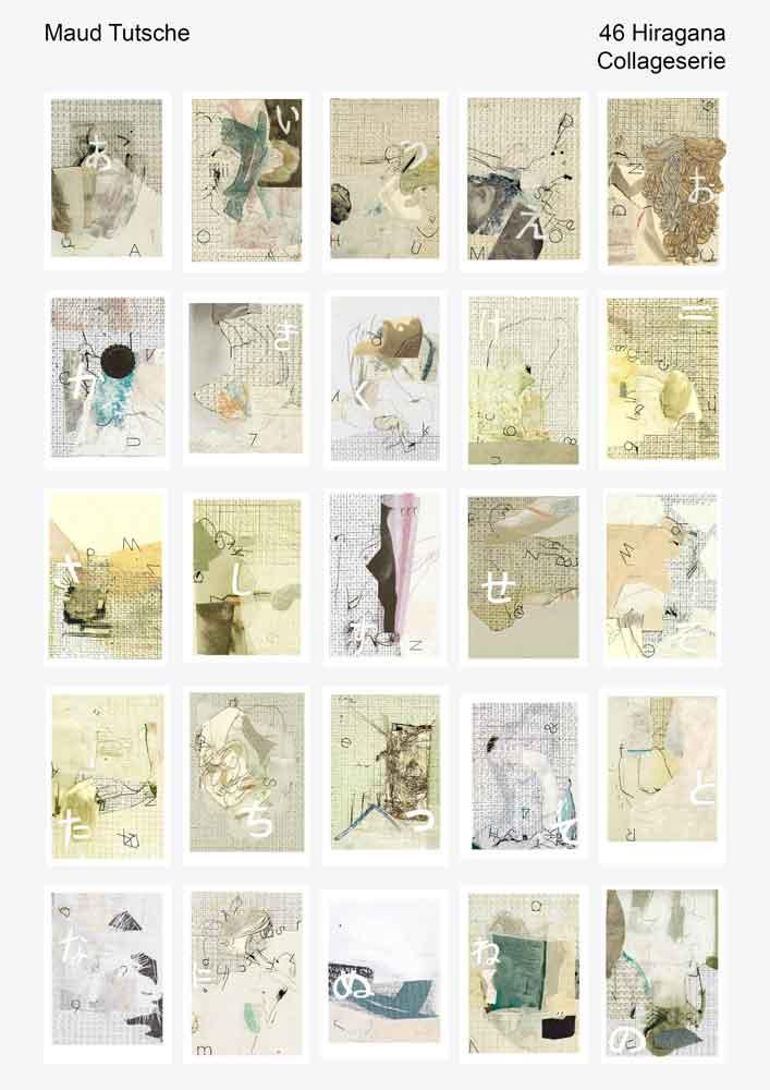25 kleine Vorschaubilder von 46 der Hiragana Collage Serie
