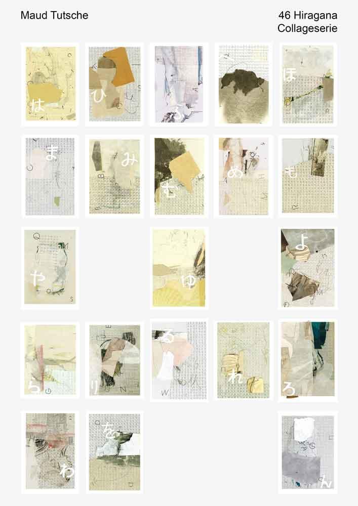 2. A4 Ansicht von 21 Hiragana Vorschaubilder vom Collage Projekt