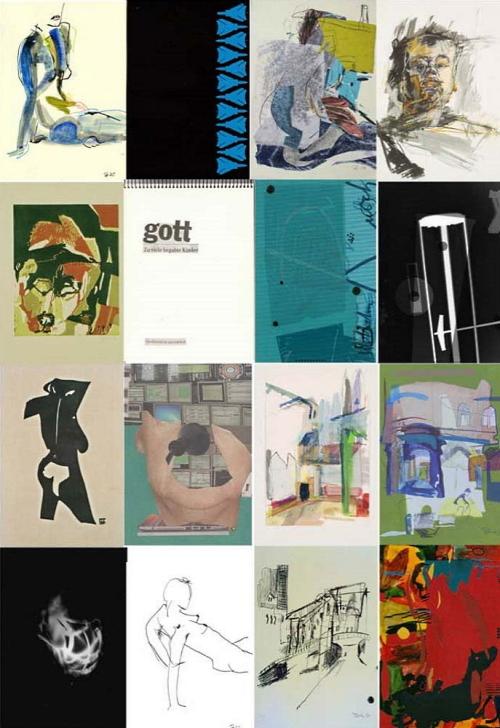 12 Thumbnails verschiedener Bilder von künstlerischen Techniken