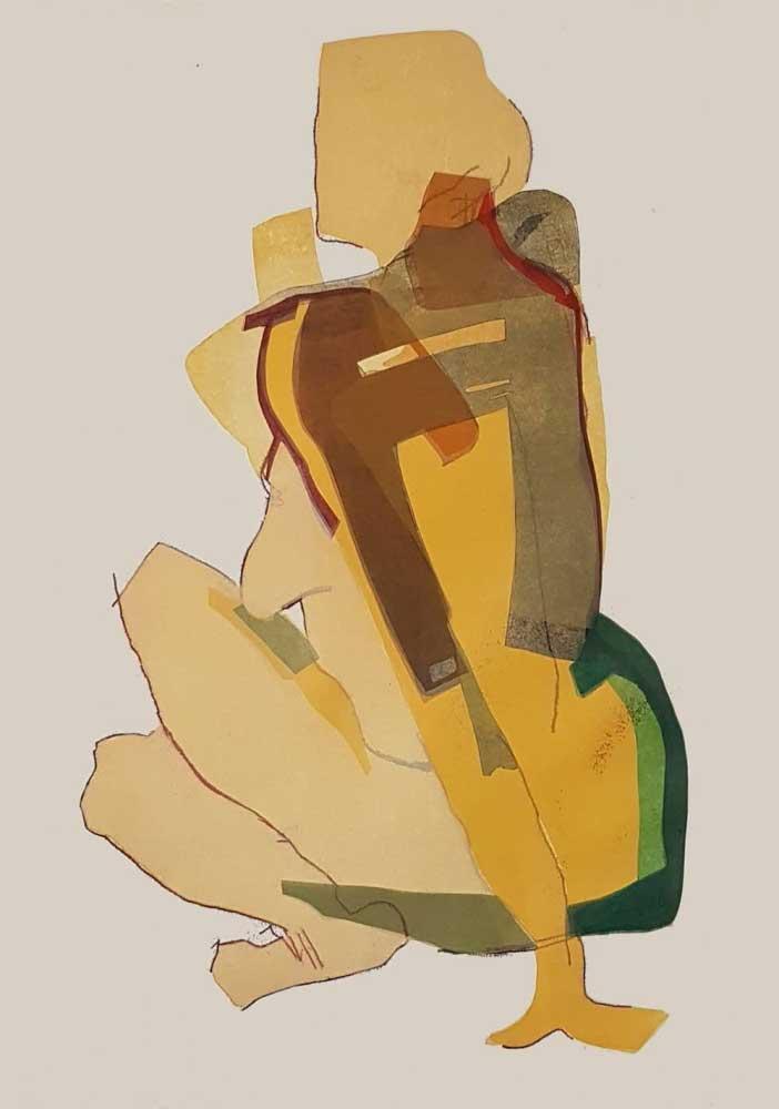 Monotypie Akt seitlich sitzend auf dem Arm abgestützt kraftvoll Körper in ocker mit schwarz, grünem Flächendruck