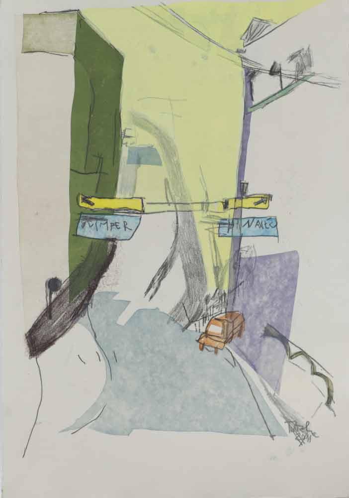 Monotypie zeichnung Stadtansicht Straße in Quimper Schablonendruck grün gelblich lila