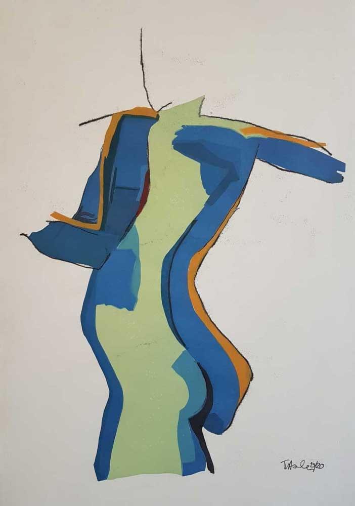 Monotypie Rückenakt schwarz gezeichnet mit blauer und grüner Ölfarbe bedruckt