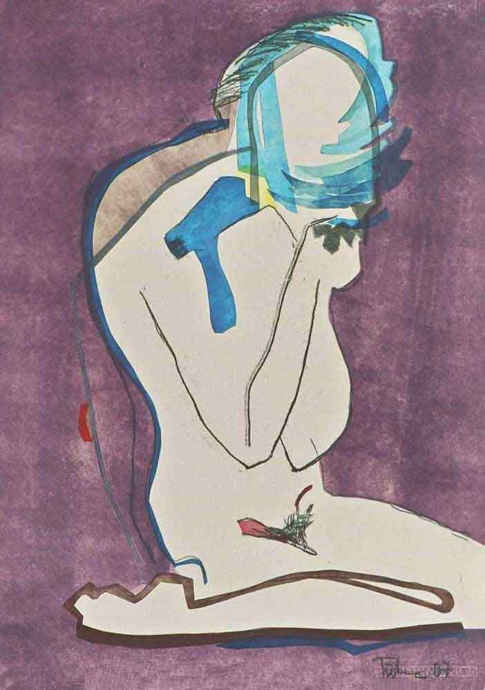 Monotypie Akt Kopf in den Händen gelegt blaue Schablonendruck lila Hintergrund