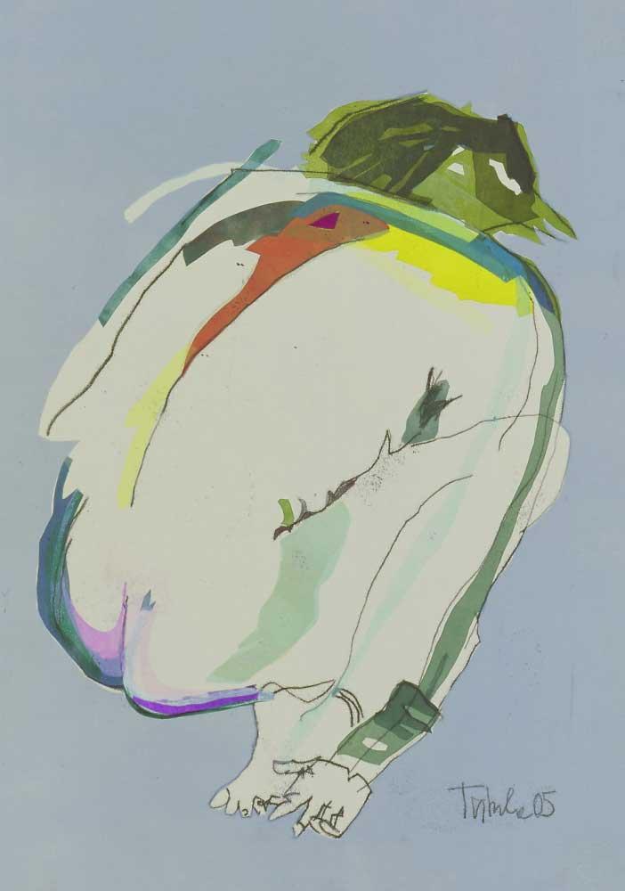 Monotypie vorgebeugter Rückenakt Draufsicht grauer Hintergrund mit verschiedenen kleinen Farbeflächenn