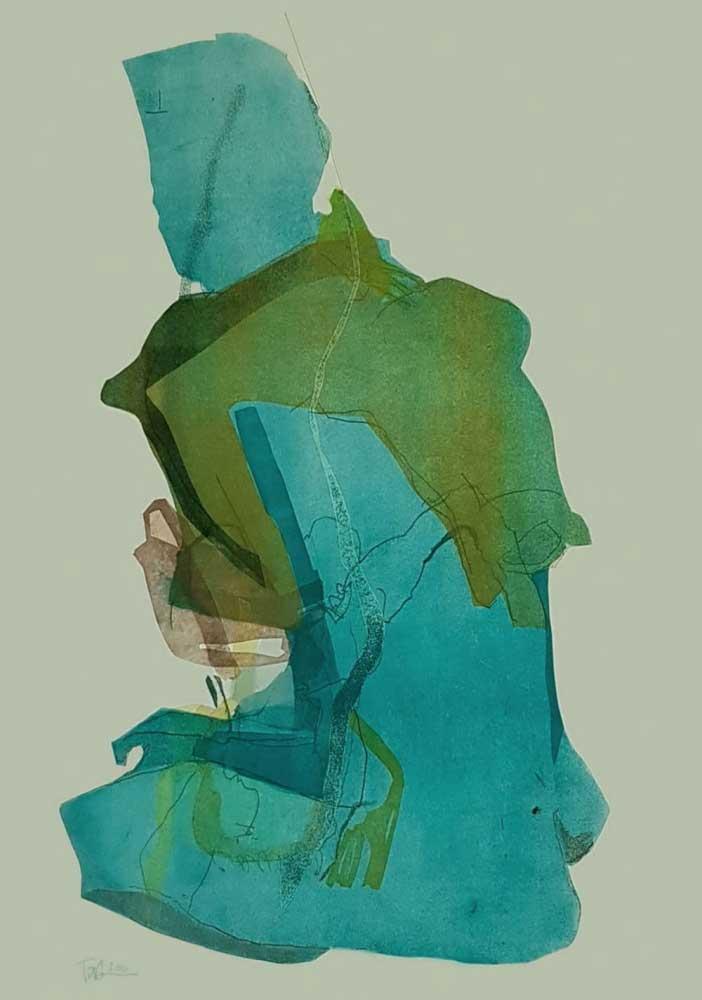 Monotypie Akt seitlich sitzend Linienzeichnung mit Ölfarbe Körper mit blauem Flächendruck