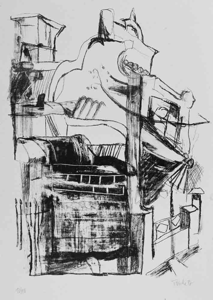 Linienzeichnung viktoriansiches Haus marode mit Schornstein