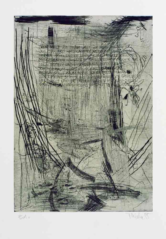 Radierung zu Henry Miller Moloch Text Auszug in die Platte graviert und abgedruckt