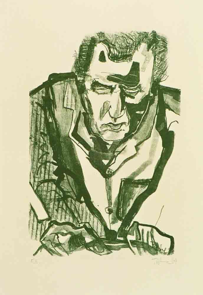 Horst Arloth Steindrucker aus Weimar beim Schleifen Lithografie