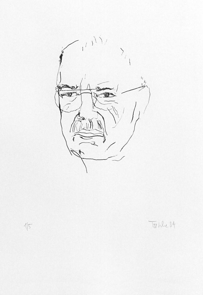 Schriftsteller Wulf Kirsten Linienzeichnung Lithografie